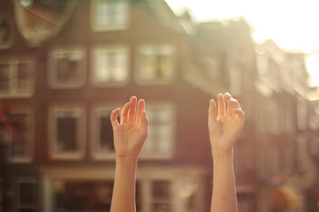 Hands in the sun in Amsterdam