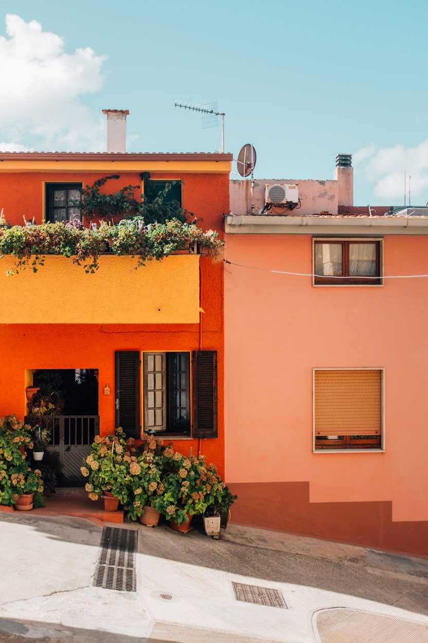 Colorful houses in Castelsardo, Sardinia