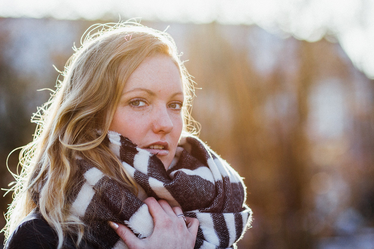 Portrait of girl during winter golden hour